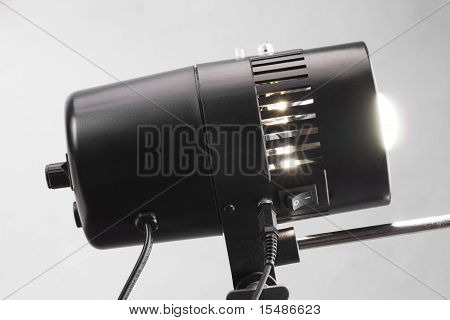 Professional  Black Studio Flash Lamp  Close-up.