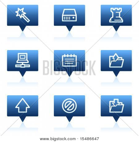 Data web icons, blue speech bubbles series