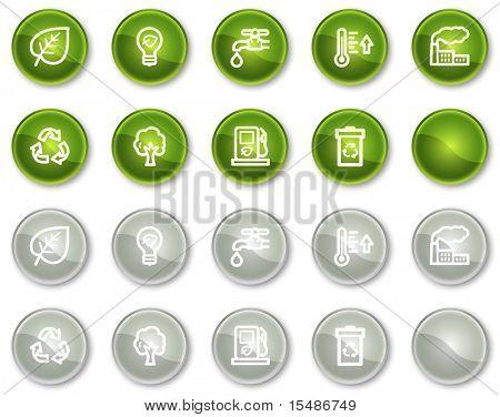 Ecología web icons set 1, verde y gris círculo botones serie