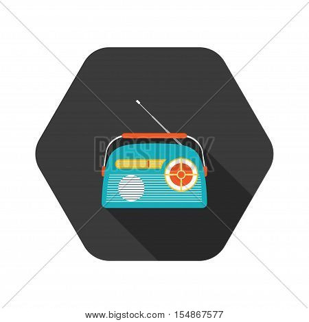 Vector icon of color vintage radio with antenna on the hexagon background.