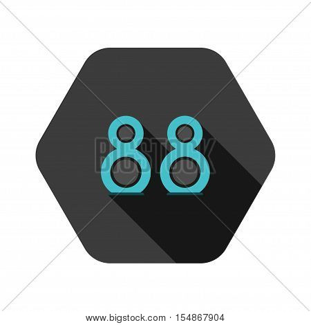 Vector icon of turquoise speakers on the hexagon gray background.