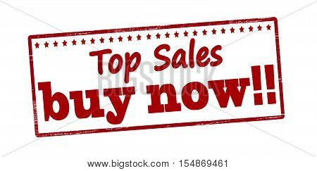 Rubber stamp with text top sales buy now inside vector illustration