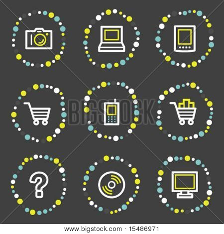 Electronics web icons set 1, color dots series
