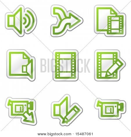 Audio video edit web icons, green contour sticker series