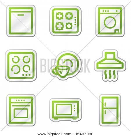 Home appliances web icons, green contour sticker series