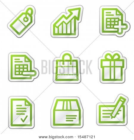 Shopping web icons, green contour sticker series