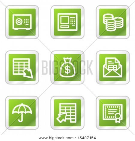 Banking web icons, green square sticker series