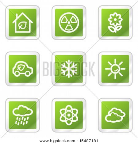 Ecology web icons set 2, green square sticker series