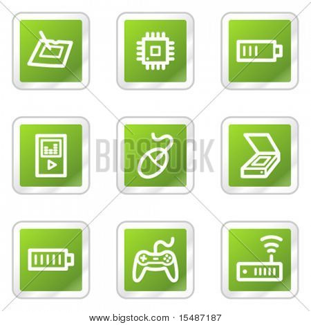 Electronics web icons set 2, green square sticker series