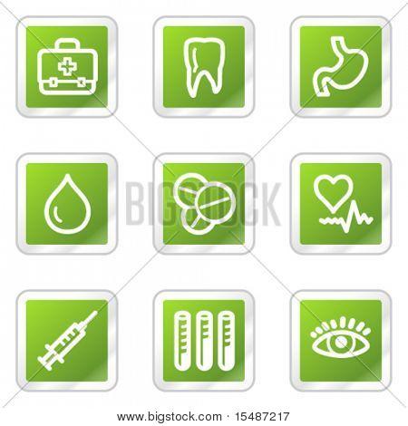 Medicine web icons, green square sticker series