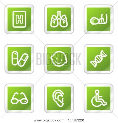 Medicina web iconos serie 2, serie de pegatina verde cuadrado