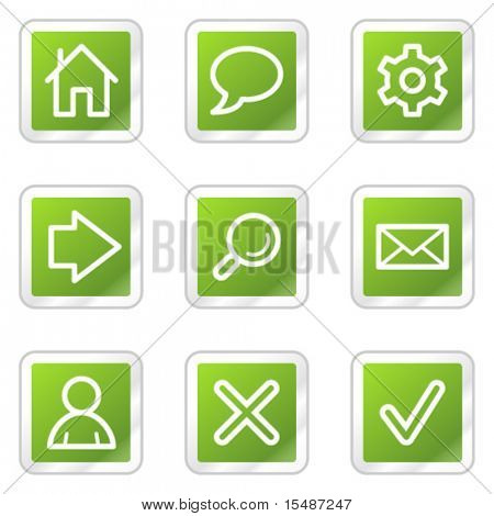 Basic web icons, green square sticker series