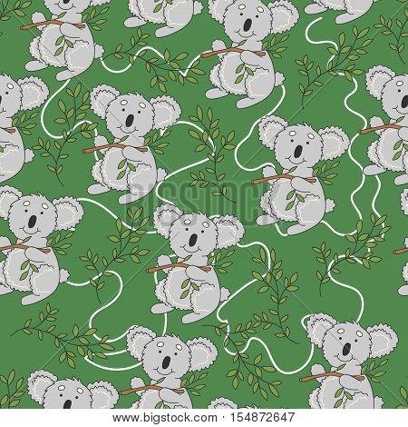 Koala pattern. Cute koala with leaves on a green background.