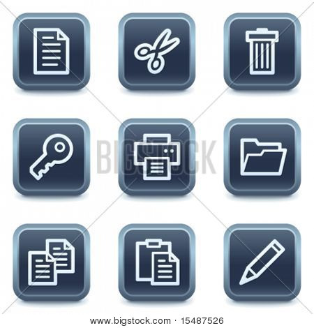 Document web icons set 1, mineral square buttons series
