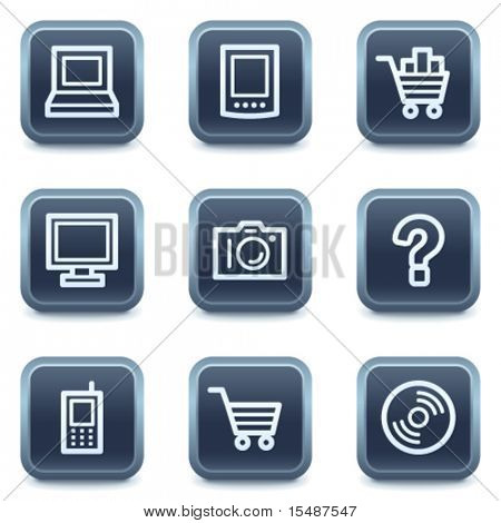 Electronics web icons set 1, mineral square buttons series