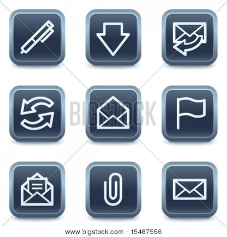 E-mail web icons, mineral square buttons series