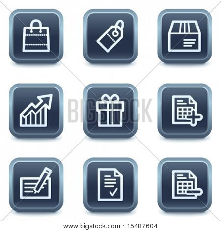 Shopping web icons set 1, mineral square buttons series