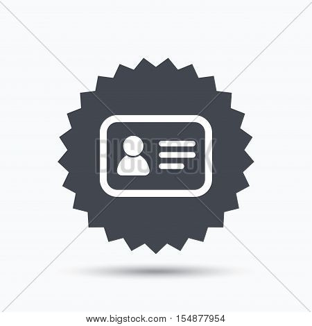 ID card icon. Personal identification document symbol. Gray star button with flat web icon. Vector