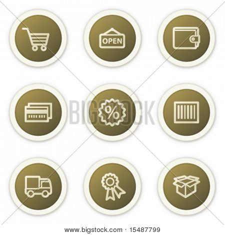 Shopping web icons set 2, brown circle buttons series