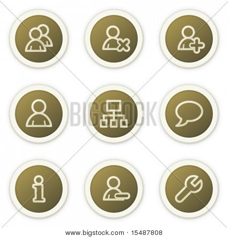 Users web icons, brown circle buttons series