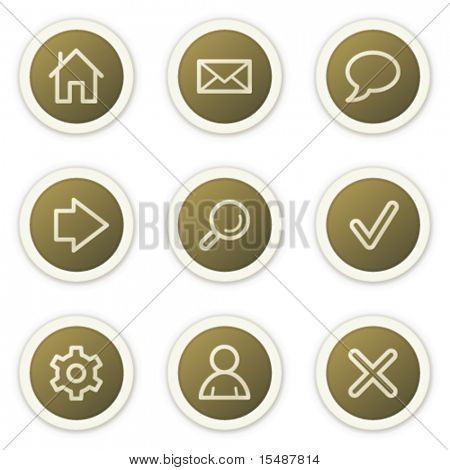 Basic web icons, brown circle buttons series