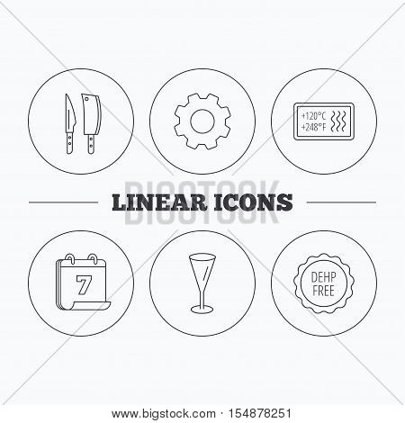 Kitchen knives, glass and heat-resistant icons. DEHP free linear sign. Flat cogwheel and calendar symbols. Linear icons in circle buttons. Vector