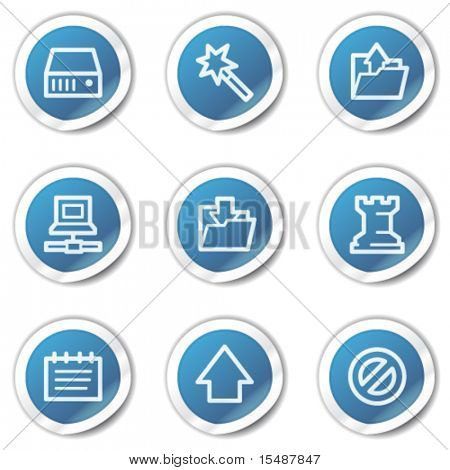 Data web icons, blue sticker series