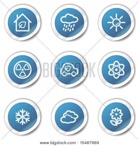 Eco Web Icons-set 2, blaue Aufkleber-Serie