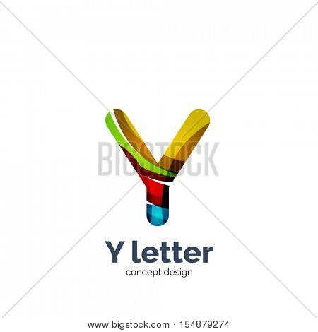 Y letter logo, modern abstract geometric elegant design, shiny light effect. Created with flowing waves