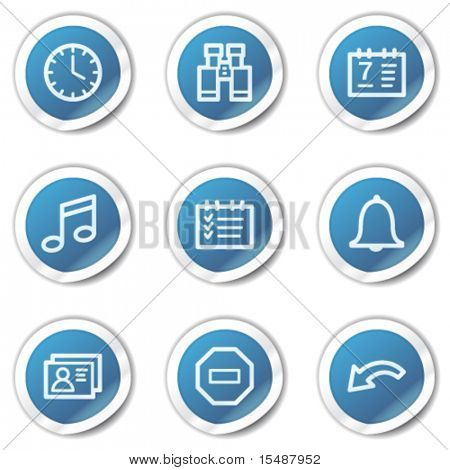 Organizer web icons, blue sticker series