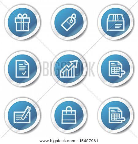 Shopping web icons set 1, blue sticker series