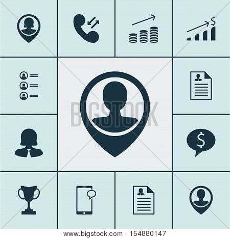 Set Of Hr Icons On Female Application, Pin Employee And Messaging Topics. Editable Vector Illustrati