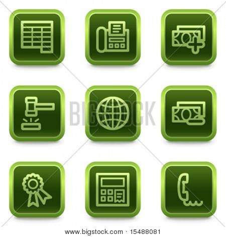 Finance web icons set 2, green square buttons series
