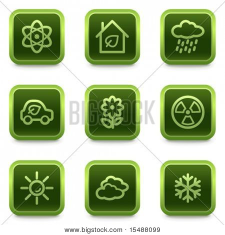 Eco web icons set 2, green square buttons series