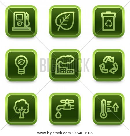 Eco web icons set 1, green square buttons series