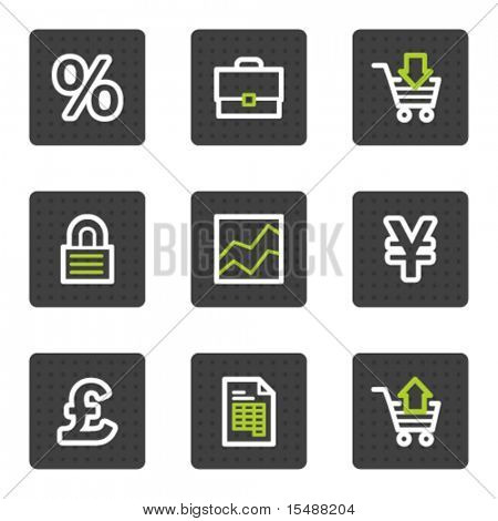 E-business web icons, grey square buttons series