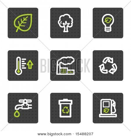 Eco web icons set 1, grey square buttons series