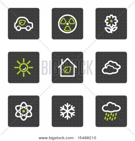 Eco Web Icons set 2, graues Quadrat Tasten Serie