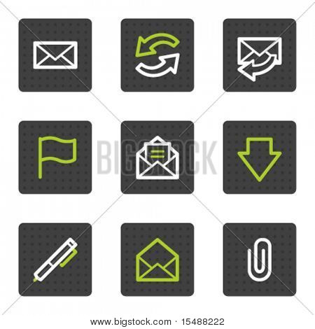 E-Mail Web-Icons, buttons graues Quadrat Serie