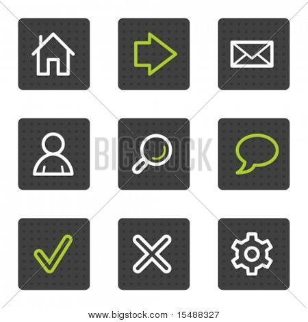 Basic web icons, grey square buttons series