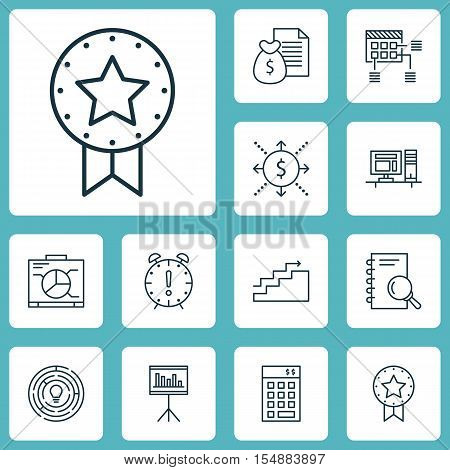 Set Of Project Management Icons On Present Badge, Presentation And Investment Topics. Editable Vecto