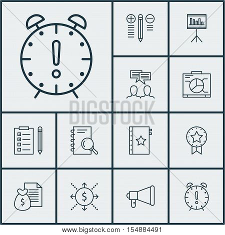 Set Of Project Management Icons On Report, Analysis And Time Management Topics. Editable Vector Illu