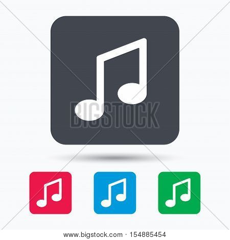 Music icon. Musical note sign. Melody symbol. Colored square buttons with flat web icon. Vector