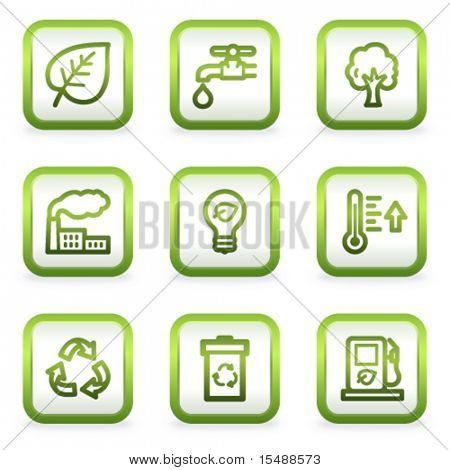 Eco Web Icons-set 1, quadratische Tasten, grüne Kontur