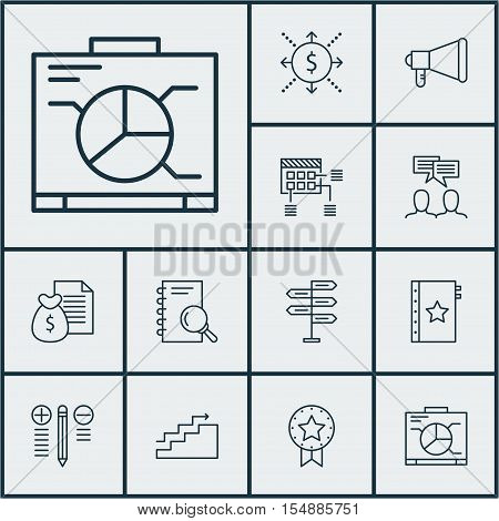 Set Of Project Management Icons On Opportunity, Announcement And Analysis Topics. Editable Vector Il