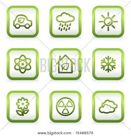 Eco Web Icons-set 2, quadratische Tasten, grüne Kontur