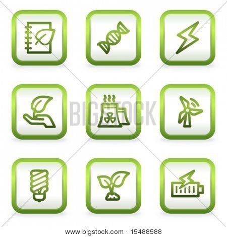 Eco Web Icons set 5, quadratische Tasten, grüne Kontur