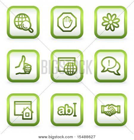 Internet web icons set 1, square buttons, green contour