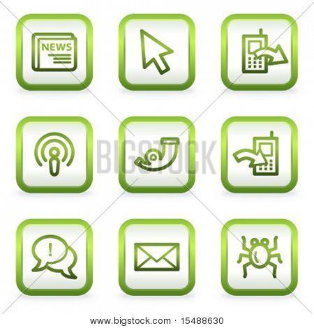 Internet web icons set 2, square buttons, green contour