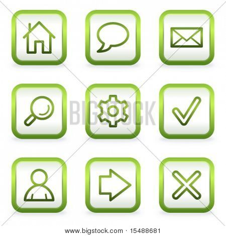 Basic web icons, square buttons, green contour